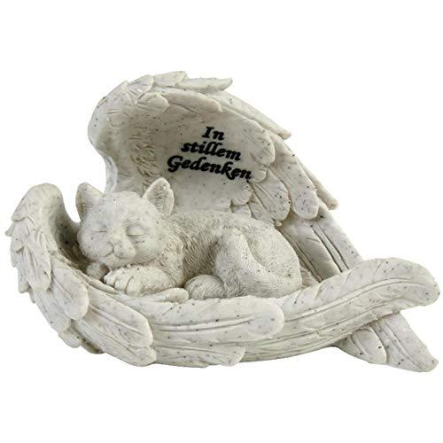 Trauer-Shop Gedenksteine für Katzen, schlafende Figur Katze umhüllt mit Engelsflügeln. 19 cm. 1 Stück