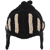 Cappellino invernale romano cavaliere casco stile maglia Beanie cappello con viso maschera Black
