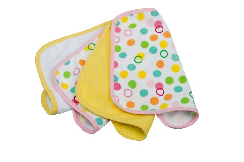 rotho-babydesign-debarbouillette-de-bain-bulle-rose-jaune-4-pieces