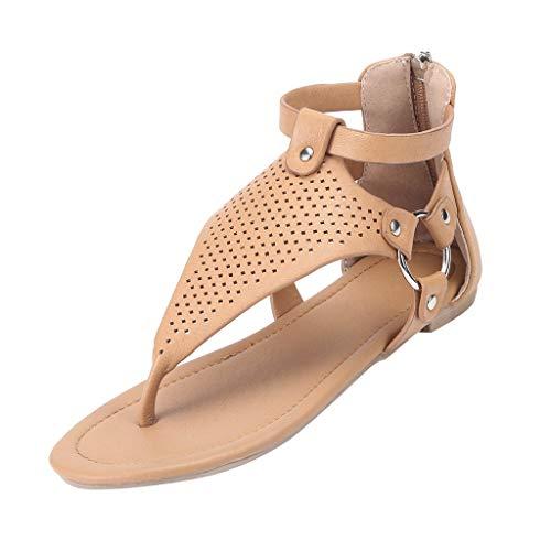 SHE.White Damen Sandalen Flache Knöchel Schnalle Zehentrenner Flip Flop Sommerschuhe Leder Beiläufig Rom Solide Hohl Out öffnen Zehenreißverschluss Sandalen flach Mit Schuhen