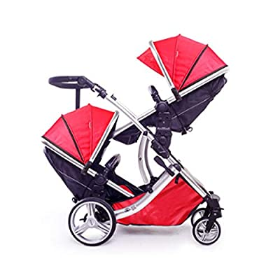 Fast Switching Twin Stroller Portable Two-way High Landscape Can Sit Lie Damping Double Trolley Portable Stroller ( Color : 2 )