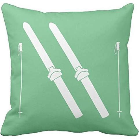 Ski Throw pillow case 24*24 in Sea Glass Green