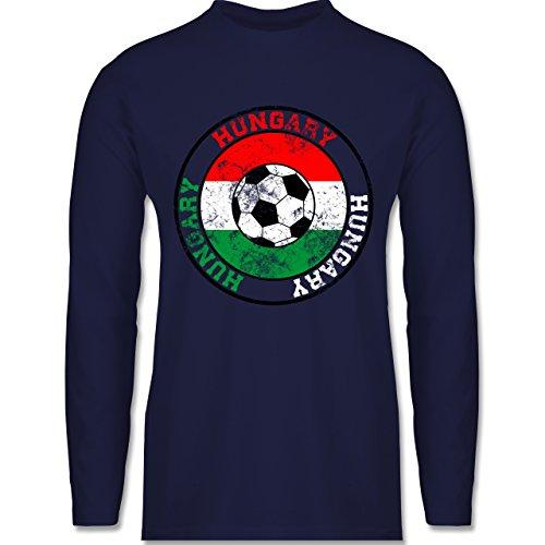 EM 2016 - Frankreich - Hungary Kreis & Fußball Vintage - Longsleeve / langärmeliges T-Shirt für Herren Navy Blau