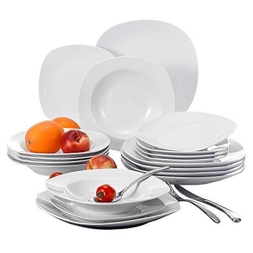 Malacasa, serie elisa, 18 pezzi servizio piatti in porcellana bianca con 6 piatti da dessert, 6 piatti fondi e 6 piatti piani