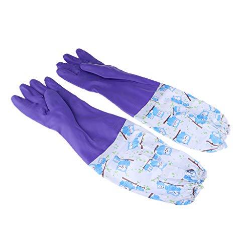 Baoblaze Rutschfeste Haushaltshandschuhe 47cm Lang Gummihandschuhe gefüttert Spülhandschuhe Haushalt Küchen Reinigung Handschuhe - Lila