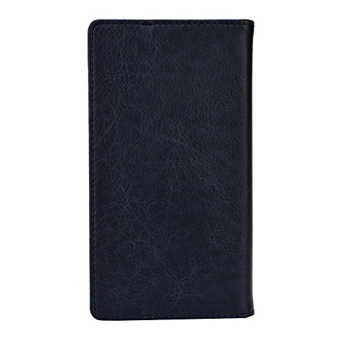 J Cover Bark Series Leather Pouch Flip Case For Panasonic T30 Dark Blue