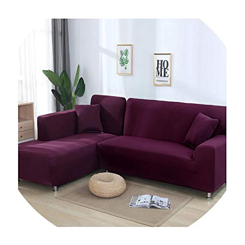 or L Shape Sofa Universal Stretch Fabric Solid Color Corner Couch Elastic Anti ash Decor Resistant Sofa Slipcover,5,2seater and 2seater ()