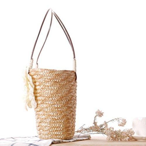 YOUJIA Damen Stroh Taschen Strandtaschen Tote mit Blumen Boho Schultertaschen Handtaschen Stroh