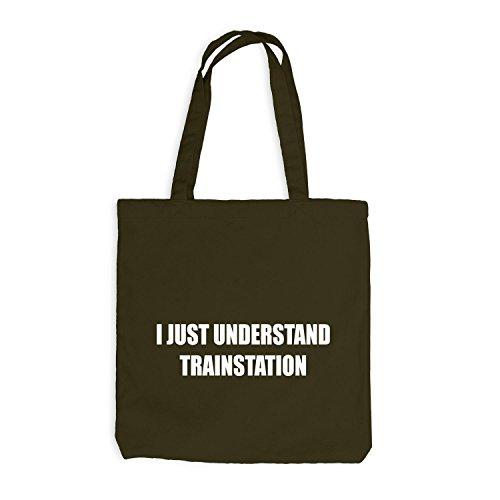 Jutebeutel - I Just Understand Trainstation - Verstehe nur Eisenbahn Olive