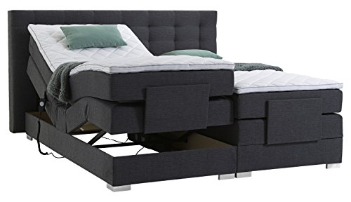 Atlantic Home Collection MIA Motor-Boxspringbett Stoff, Liegefläche 180 x 200, grau