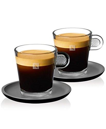 Nespresso - Juego de 2 tazas de cristal y platillos (80 ml)