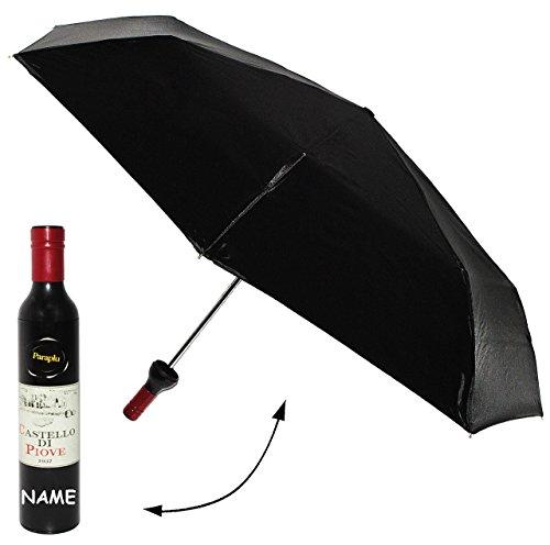 """Taschenschirm - """" in Weinflasche - schwarz """" - ø 98 cm - incl. Name - Regenschirm / Erwachsenenschirm / Kinderschirm / - Weinliebhaber - Weine - für Damen / Frauen & Herren - Erwachsene - Sturmfest - zusammenklappbarer Schirm - Winzer - Weinrebe Weinernte - Weinlese"""