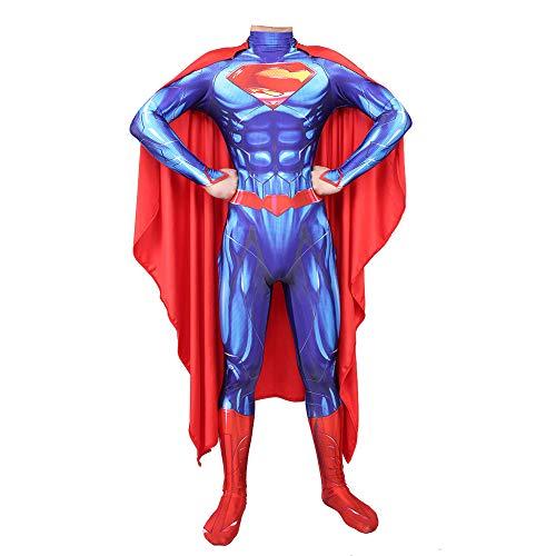 Hochwertiger Superman Kostüm - YXIAOL Superman Kostüm, Superheld Kostüm, Justice League Film Cosplay Party Kostüm, Halloween Karneval Kostüm, Erwachsener/Kind,Blue-XXXL