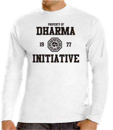 Touchlines - Maglia da ragazzo, motivo: Progetto Dharma della serie televisiva Lost, disponibile in colori vari, taglia da S a XXXL Bianco - bianco