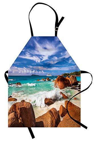 Exotische Männliche Kostüm - ABAKUHAUS Tropisch Kochschürze, Exotische Rocky Coast mit Wellen-Seychellen-Insel-Paradies-Strand-Landschaft, Farbfest Höhenverstellbar Waschbar Klarer Digitaldruck, Türkis Zimt Blau