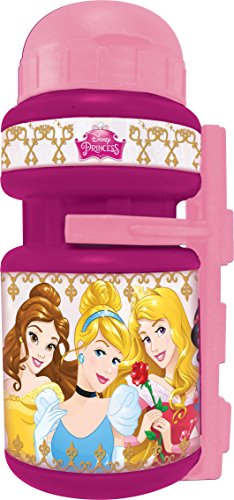 Disney Mädchen Princess Fahrradtrinkflasche mit Halter für Kinder Rosa -