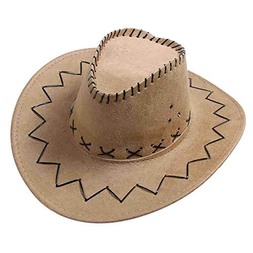 boyhut Kunstleder Cowboyhut Western Cowgirl Australien Texas Cowboyhüte Unisex Hellbeige 1 Stücke ()