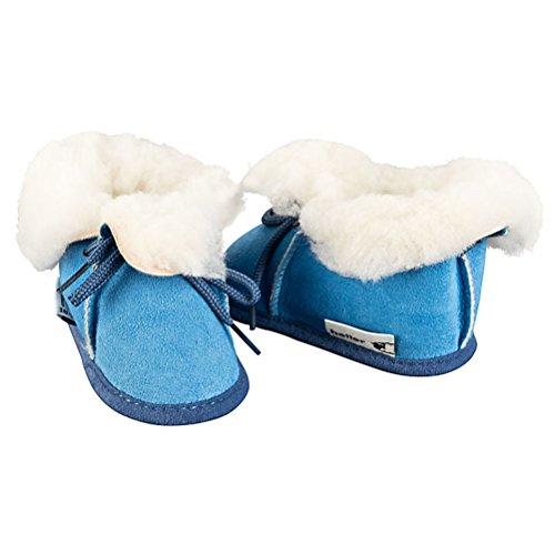 Heller Vertrieb 100% Merino Lammfell Baby/Kinder Stiefel - Blau Größe 16-17 (3-6 Monate - bis 10cm)
