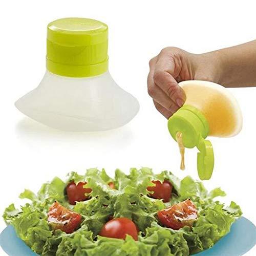 Ghair2 Mini-Salat-Dressing-Flasche, Salat-Dressing-Behälter, Mini-Salatdosen, auslaufsichere Lebensmittel-Vorratsdosen für Gewürzsaucen, grün, 7.3×5.5×6 cm