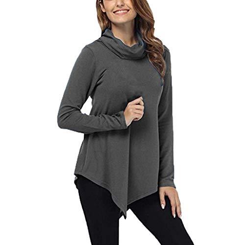 ❤️ AG & T ❤️ Unregelmäßige Tops für Frauen, Solid Turtleneck Slim Top, Damen Langarm Herbst Winter Pullover Blusen -
