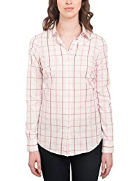 e5283565 HAWES & CURTIS Womens Classic Button Down Semi Fitted Red & White Checked Shirt  Single Cuff