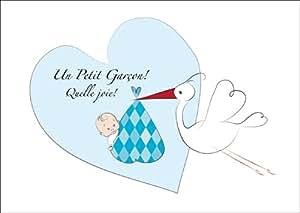 Mignonne Carte de bébé (Garçon), carte de félicitations pour la naissance, annonce de naissance avec Cigogne avant coeur avec un Baby Boy: Un Petit Garçon! Quelle joie!