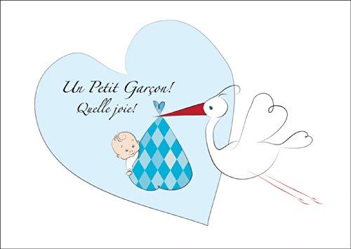 Süße französische Babykarte (Junge), Glückwunschkarte/ Anzeigenkarte zur Geburt, Geburtsanzeige mit Storch vor Herz mit Baby Boy: Un Petit Garçon! Quelle joie! • auch zum direkt Versenden mit ihrem persönlichen Text als Einleger.