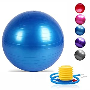Dgtech Yoga Gymnastik Ball 45/55/65/75/85/95 cm mit Fuß-Pumpe mit mit Anti-Burst und rutschfeste Balance Ball für Fitness, Workout & 5 Farben optional
