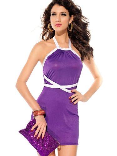 E-Girl la mode Violet Halter Backless Cocktail Soirée Robe, Violet Violet
