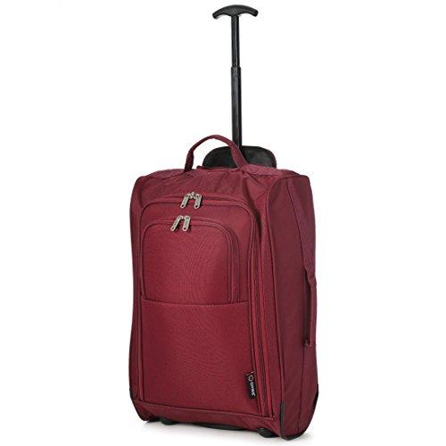 5Cities 55cm/50Trolley Bagaglio a mano Valigia per Easyjet e Ryanair nero Wine 55 cm
