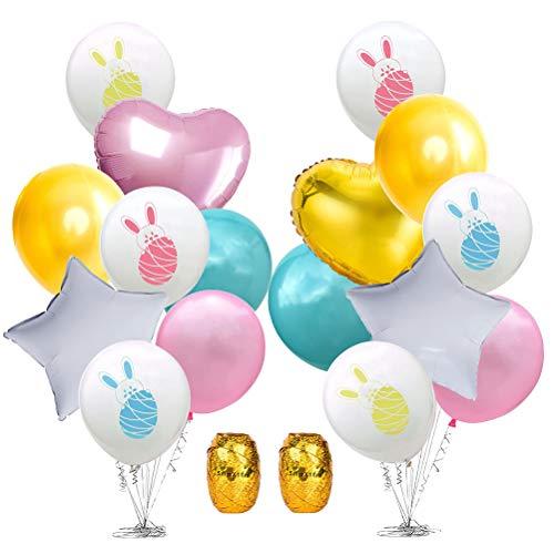 Amosfun 18 Stück Ostern Luftballons Latex Hase Alufolie Ballons Ostern Party Dekoration Supplies