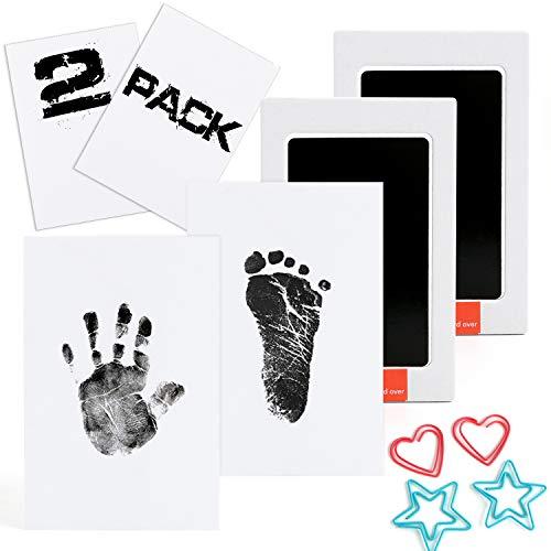 Scotamalone 2 Packs Baby-Handabdruck- und Fußabdruck-Stempelkissen - Pet Paw Print Kits - Ungiftig, sicher und sauber - für Familien-Andenken, Babyparty-Geschenk und Registrierung mittlerer Größe -