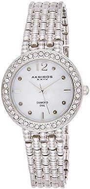 Akribos XXIV Women's Silver Diamond Swiss Quartz Classic Watch - Mother of Pearl Dial - Crystal Studded Be