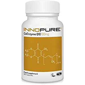 41RDIx6WBpL. SS300  - CoQ10 Pure Coenzyme Q10 100mg, Naturally Fermented, Vegan Society Approved, 90 Capsules, Made in The UK by Innopure