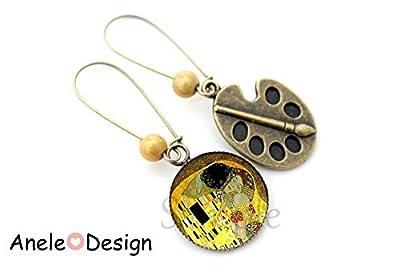 Boucles d'oreilles Klimt -Le Baiser - peinture cabochon