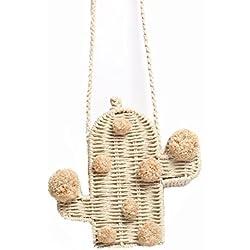 GAOQQ Kaktus-Stroh-Beutel-weibliche Gestrickte Einzelne Schulter-Beutel-Strand-Umhängetasche Schöne Geschenk-Tasche
