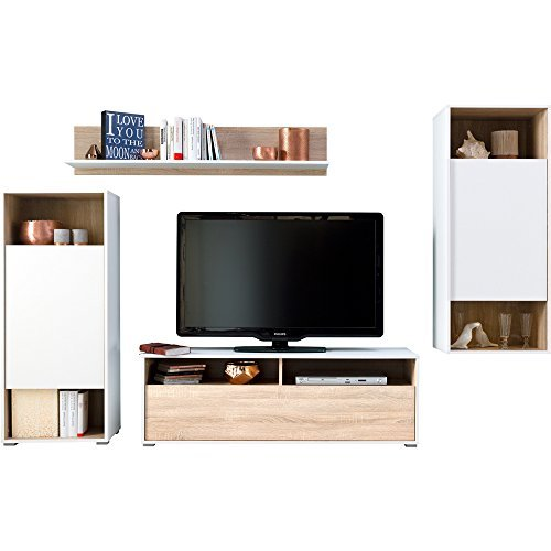 Amazing Living Room Furniture Set Tv Cabinet Hanging Shelves Free Standing  Shelf By Cs Schmal Made In Germany White Oak Amazoncouk Kitchen U Home With  ...