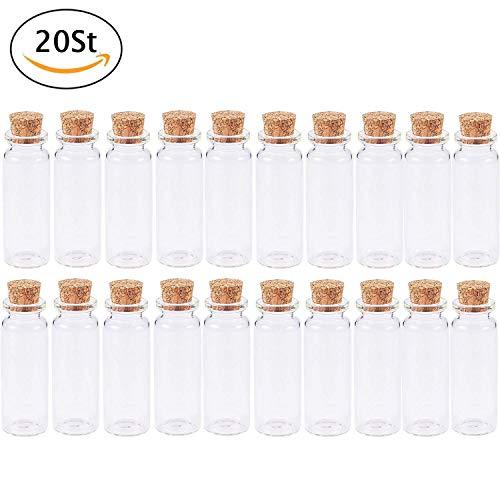YVSoo 20Stück Mini Gläschen Fläschchen 40ml Glasflaschen mit Korken für um Kleine Proben, Glitzer, Sand, Salz, oder ähnliches hineinzufüllen