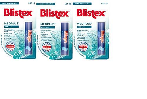Blistex MedPlus Stick Lippenbalsam, starke Pflege, rissige, brennende, trockene, glanzlose Lippen, 3 Stück - Pflege-ein Lippenbalsam