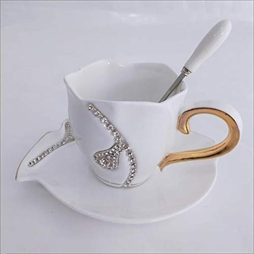 YSSWJ Ysswjzz Tasse/Tassen,Kaffee Tassen Set, Porzellan, dickwandig, spülmaschinenfest, Gastronomie-Qualität (Color : White)