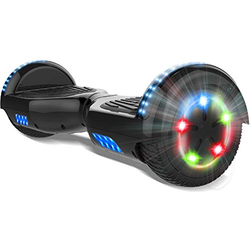 COLORWAY 6.5'' Patinete Monopatín Eléctrico Scoter Auto-Equilibrio con CE Certificado, Bluetooth y Colorido LED