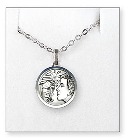 First Holy Communion Silver Plated Necklace For Boy Plus Lourdes