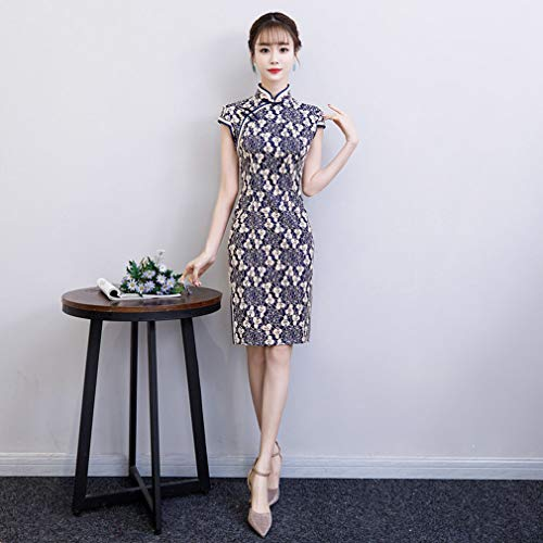 ress Lace Frühsommer Short-Sleeved Stand-Up Spitze Chinesische Qipao Hochzeit Party & Abend,3,XL ()