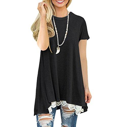 Casual Vestito A Line con Maniche Corte Donna Maglia Lunga al Ginocchio T Shirt Top Camicia Estate Primavera Autunno