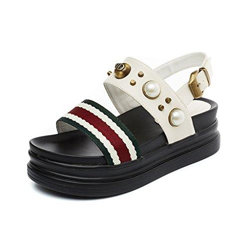 LIXIONG Portable Semelles épaisses de sandales Mode féminine féminine Des chaussures décontractées fines et perlées Chaussures plates douces confortables -Chaussures de mode ( Couleur : A , taille : E A