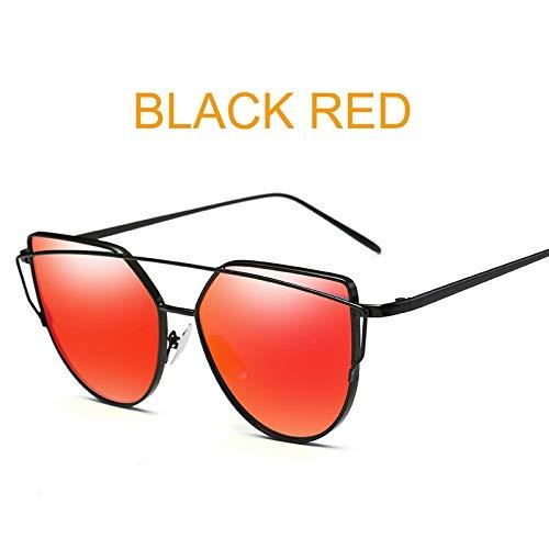 Macxy - Cat Eye Jahrgang Markenentwerfer Goldspiegel Sonnenbrillen für Frauen reflektierende Metall Flache Linse Sonnenbrillen Weibliche oculos [Schwarz Rot] Rose