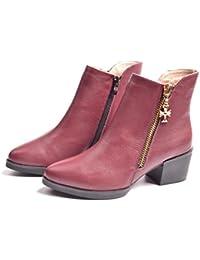 Piel Moda punta rugosa con MS Martin botas, rojo vino, 40