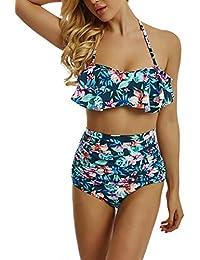 3d086bca8d4b21 Sexy Bikini Damen High Waist Bademode Neckholder Bikini mit Grüne Blume  Badeanzug Damen Bikini Set Zwei