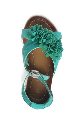 Sandale Fille surpiqûres joli décor fleuri verte Vert