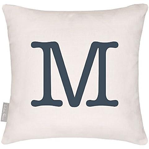 Designers Impermeabile Alfabeto Classico Giardino Da esterno Cuscino - Progettato, Stampato & fatti a mano nel Regno Unito - Lettera M, 40 x 40 cm Cushion